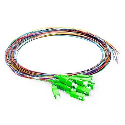 Unjacketed Single Mode Fiber Optic Pigtail APC Polish With Color - Coded