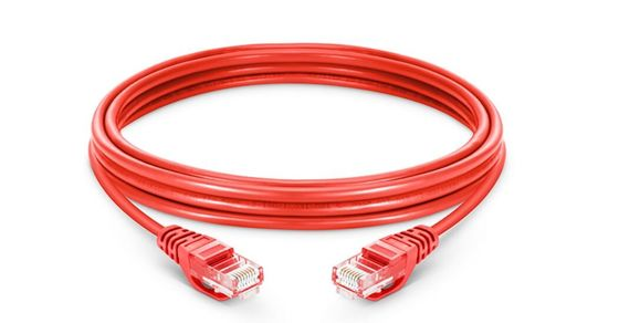 Red PVC Ethernet Network Patch Cable / Cat5e Patch Cable 100m Transmission Distance