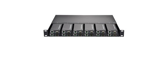 12 Slots 10 100M Ethernet Media Converter 1U Rack Mount , Dual Power AC 220V